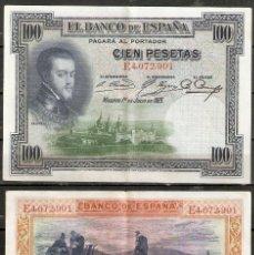 Billetes españoles: BILLETE 100 PESETAS. AÑO 1925. FELIPE II. Lote 222436728
