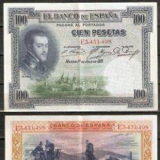 Billetes españoles: BILLETE 100 PESETAS. AÑO 1925. FELIPE II. Lote 222436848