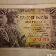 Billetes españoles: BILLETE 1 PESETA 1943 SIN SERIE. Lote 222721666