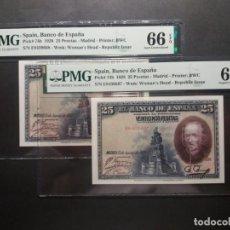 Billetes españoles: PMG BILLETE 25 PESETAS 1928 CALDERÓN DE LA BARCA PAREJA PMG 67/66 EPQ CERTIFICADO SIN CIRCULAR. Lote 222921006