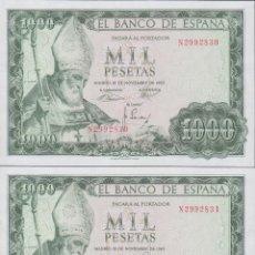 Billetes españoles: BILLETES ESPAÑOLES-ESTADO ESPAÑOL 1000 PESETAS 1965 (SERIE N) PAREJA CORRELATIVA (SC). Lote 223767455