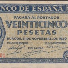 Billetes españoles: BILLETES ESPAÑOLES-ESTADO ESPAÑOL 25 PESETAS 1936 (SERIE R) (SC). Lote 223813427