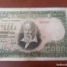 Billetes españoles: 1 BILLETE DE 1000 PESETAS DE 1951.JOAQUIN SOROLLA,SIN SERIE Y BAJA NUMERACION.. Lote 223845705