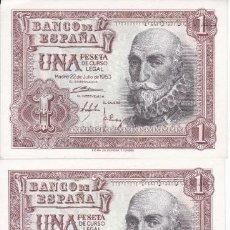 Billetes españoles: CUARTETO CORRELATIVO DE 1 PESETA DEL AÑO 1953 DEL MARQUES DE SANTA CRUZ SERIE 1A SIN CIRCULAR (SC). Lote 223900571