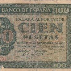 Billetes españoles: BILLETE: 100 PESETAS BURGOS 1936 / BANCO DE ESPAÑA - A570291. Lote 223934923
