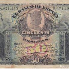 Billetes españoles: BILLETE CLASICO DE 50 PESETAS DEL AÑO 1907 SIN SERIE (RARO Y DIFICIL DE CONSEGUIR). Lote 223948305