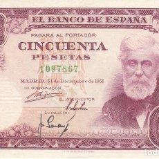 Billetes españoles: BILLETE DE 50 PESETAS DEL AÑO 1951 DE SANTIAGO RUSIÑOL SIN SERIE EN CALIDAD EBC. Lote 223951710