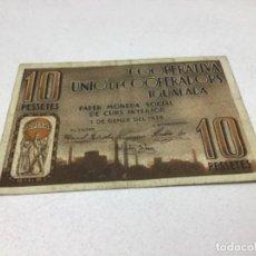 Billetes españoles: BILLETE LOCAL - 10 PESSETAS- COOPERATIVA UNIO DE COOPERADORS IGUALADA - ORIGINAL. Lote 224309568