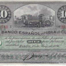 Billetes españoles: BILLETE DE 10 PESOS DEL BANCO ESPAÑOL EN LA ISLA DE CUBA AÑO 1896 (FIRMA NEGRA SIN CERTIFICADO PLATA. Lote 224388847