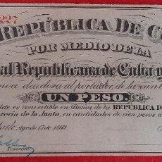 Billetes españoles: BILLETE 1 PESO DE CUBA Y PUERTO RICO 1869 EPOCA COLONIAL ESPAÑOLA EBC GRAPAS ORIGINAL T227. Lote 224517340