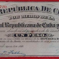 Billetes españoles: BILLETE 1 PESO DE CUBA Y PUERTO RICO 1869 EPOCA COLONIAL ESPAÑOLA EBC GRAPAS ORIGINAL T720. Lote 224517422