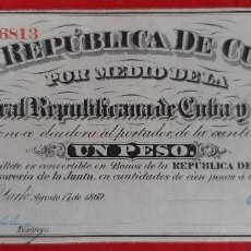 Billetes españoles: BILLETE 1 PESO DE CUBA Y PUERTO RICO 1869 EPOCA COLONIAL ESPAÑOLA EBC GRAPAS ORIGINAL T813. Lote 224517527