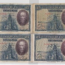 Billetes españoles: BILLETES DE ALFONSO XIII QUE CIRCULARON DURANTE LA II REPÚBLICA 1928 SERIE A-B-C-D 25 PTAS. Lote 224595283