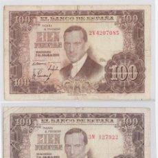 Billetes españoles: BILLETES QUE CIRCULARON DURANTE EL ESTADO ESPAÑOL (BANCO DE ESPAÑA) 1953 SERIE 3M-2V 100 PTAS. Lote 224602236