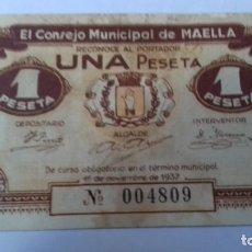 Billetes españoles: GUERRA CIVIL ESPAÑOLA 1 PESETA DE LA LOCALIDAD DE MAELLA, EN MUY BUEN ESTADO. Lote 225134990
