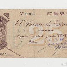 Billetes españoles: 25 PESETAS-BILBAO- 13 DE FEBRERO DE 1937-BANCO DE VIZCAYA. Lote 226626190