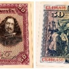 Billetes españoles: BILLETE ESPAÑOL 50 PESETAS DE 1928 SERIE 1,466,856. Lote 227602535