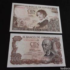 Billetes españoles: LOTE 2 BILLETES 100 PESETAS 1965,1970 ESTADO ESPAÑOL ESPAÑA SIN CIRCULAR. Lote 251447725