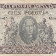 Billetes españoles: BILLETE 100 PESETAS BANCO DE ESPAÑA EMISION 9-1-1940 / G8.565.483. Lote 226669120