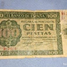 Billetes españoles: BILLETE DE CIEN PESETAS SERIE B NOVIEMBRE AÑO 1936 ORIGINAL VERSION MUY DIFICIL. Lote 229313275