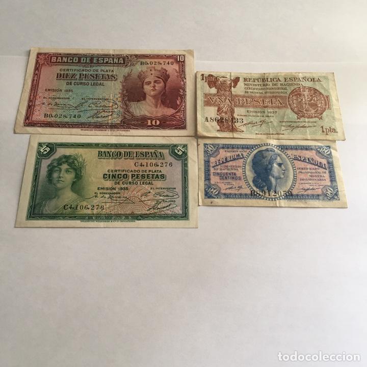 LOTE DE BILLETES REPUBLICA ESPAÑOLA 10 , 5 , 1 Y 50 CMS. DE PESETA. (Numismática - Notafilia - Billetes Españoles)