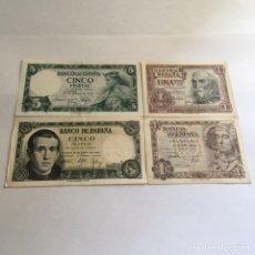 Billetes españoles: LOTE DE BILLETES ESPAÑOLES DE 1 Y 5 PESETAS.. Lote 229697665