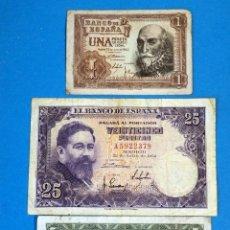 Notas espanholas: LOTE DE 3 BILLETES 1 PESETA, 5, 25. Lote 230427095