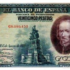 Billetes españoles: BILLETE DE ESPAÑA DE 25 PESETAS DE1928 CIRCULADO MANCHADO. Lote 231277490
