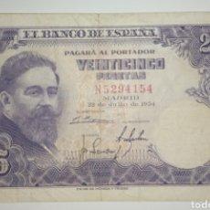 Billetes españoles: B-102.2 BILLETE 25 PESETAS 1954 MBC ISAAC ALBENIZ SERIE N. Lote 231421980