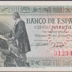 Billetes españoles: BILLETES ESPAÑOLES - ESTADO ESPAÑOL - 5 PESETAS 1945 - SIN SERIE (EBC-). Lote 246777160