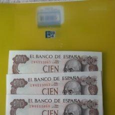 Billetes españoles: PLANCHA 2W6113062 /65 4 BILLETES FALLA 17 NOVIEMBRE 1970 BANCO ESPAÑA. Lote 231702890