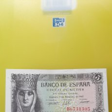 Billetes españoles: PLANCHA B 6731305 13 FEBRERO 1843 5 PESETAS CRISTÓBAL COLÓN Y ISABEL CATÓLICA BANCO ESPAÑA. Lote 231704220