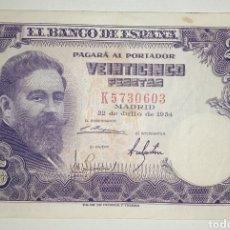 Billetes españoles: B-91.2 BILLETE 25 PESETAS 1954 ISAAC ALBENIZ SERIE K MBC. Lote 231709575