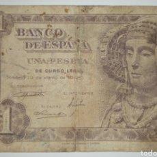 Billetes españoles: B-10 BILLETE 1 PESETA 1948 SERIE Ñ. BC DAMA DE ELCHE. Lote 231820345
