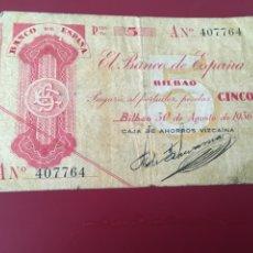Billetes españoles: BILLETE DE 5 PTAS DE SERIE A DE 1936. Lote 231953470