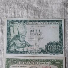 Billetes españoles: SÍN SERIE MIL PESETAS 9114193 19 NOVIEMBRE 1865 S.ISIDRO-/ 3885154 JOAQUÍN SOROLLA 31 DICIEMBRE 51. Lote 231954540