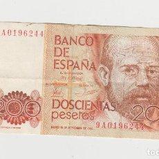 Billetes españoles: 200 PESETAS-16 DE SETIEMBRE DE 1980- SERIE 9A. Lote 232552880