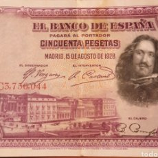 Billetes españoles: BILLETE 50 PTS 1928. VELAZQUEZ. MBC. Lote 252380950