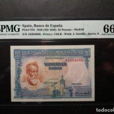 Billetes españoles: PMG BILLETE DE 25 PESETAS DE 1936 SOROLLA PMG 66 EPQ CERTIFICADO SIN CIRCULAR. Lote 221232936