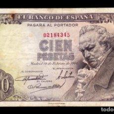 Banconote spagnole: ESPAÑA SPAIN 100 PESETAS GOYA 1946 PICK 131 SIN SERIE BC/+ F/+. Lote 233728765