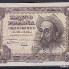 Billetes españoles: ESPAÑA.- BILLETE DE 1 PESETA DE 1951 QUIJOTE SERIE J EN MBC + (VER DESCRIPCIÓN COMPLETA). Lote 234166805