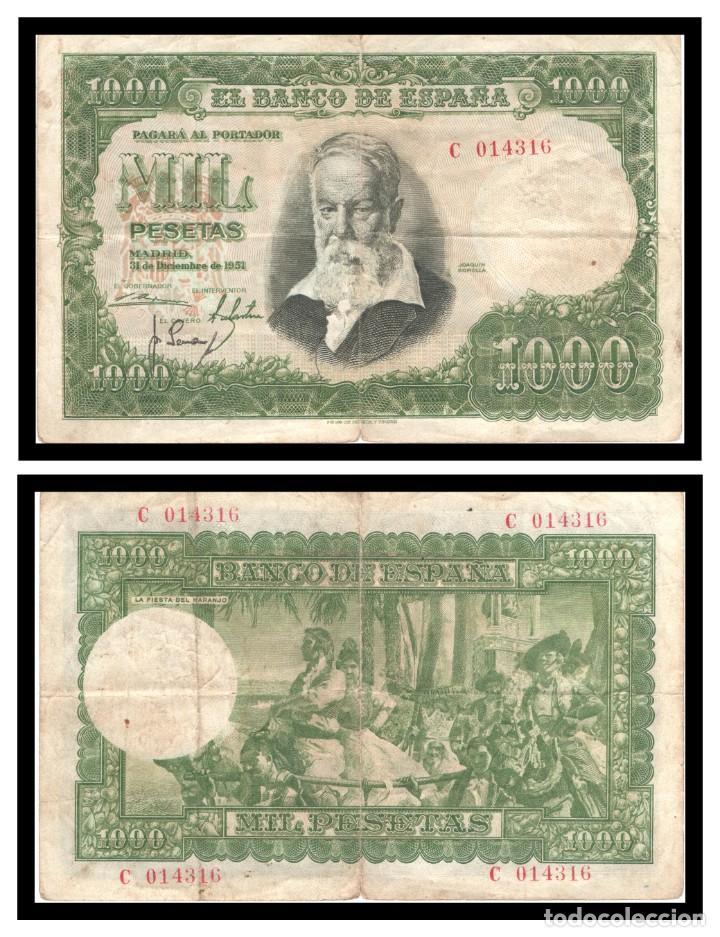 ESPAÑA 1000 PESETAS 1951 (JOAQUIN SOROLLA) PIK 143 SERIE C MBC- (Numismática - Notafilia - Billetes Españoles)
