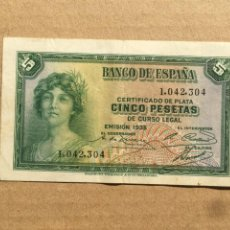 Billetes españoles: 5 PESETAS 1935 Nº 1042304 MBC. Lote 235841150