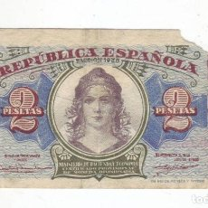 Billetes españoles: 2 PESETAS - REPUBLICA ESPAÑOLA - 1938 - SERIE B. Lote 236112735