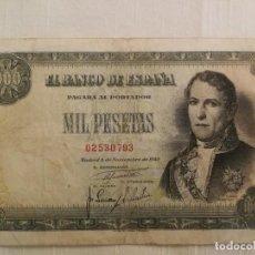 Billetes españoles: 1000 PESETAS 4 DE NOVIEMBRE DE 1949. D. RAMON DE SANTILLAN. SIN SERIE. MBC- BC+. Lote 236256010