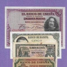 Notas espanholas: LOTE DE 4 BILLETES DIFERENTES MUY INTERESANTES. Lote 236355635