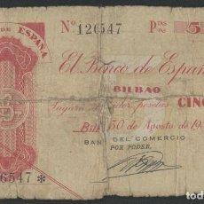 Billetes españoles: J.B. 5 PESETAS BANCO ESPAÑA BILBAO 1936, SIN SERIE , ANTEFIRMA BANCO DEL COMERCIO. Lote 236424495