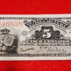 Banconote spagnole: BILLETE 5 CENTAVOS BANCO ESPAÑOL ISLA CUBA 1896 EPOCA COLONIAL MBC+ ORIGINAL , T638. Lote 236758305