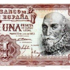 Billetes españoles: BILLETE DE ESPAÑA DE 1 PESETA DE 1953 MANCHADO. Lote 236817860