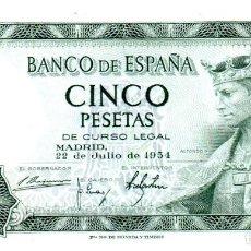 Billetes españoles: BILLETE DE ESPAÑA DE 5 PESETAS DE 1954 CIRCULADO. Lote 236818475